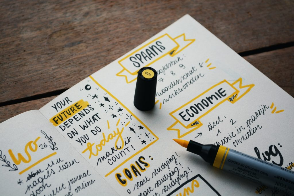 goals written out on a piece of paper with black and yellow ink