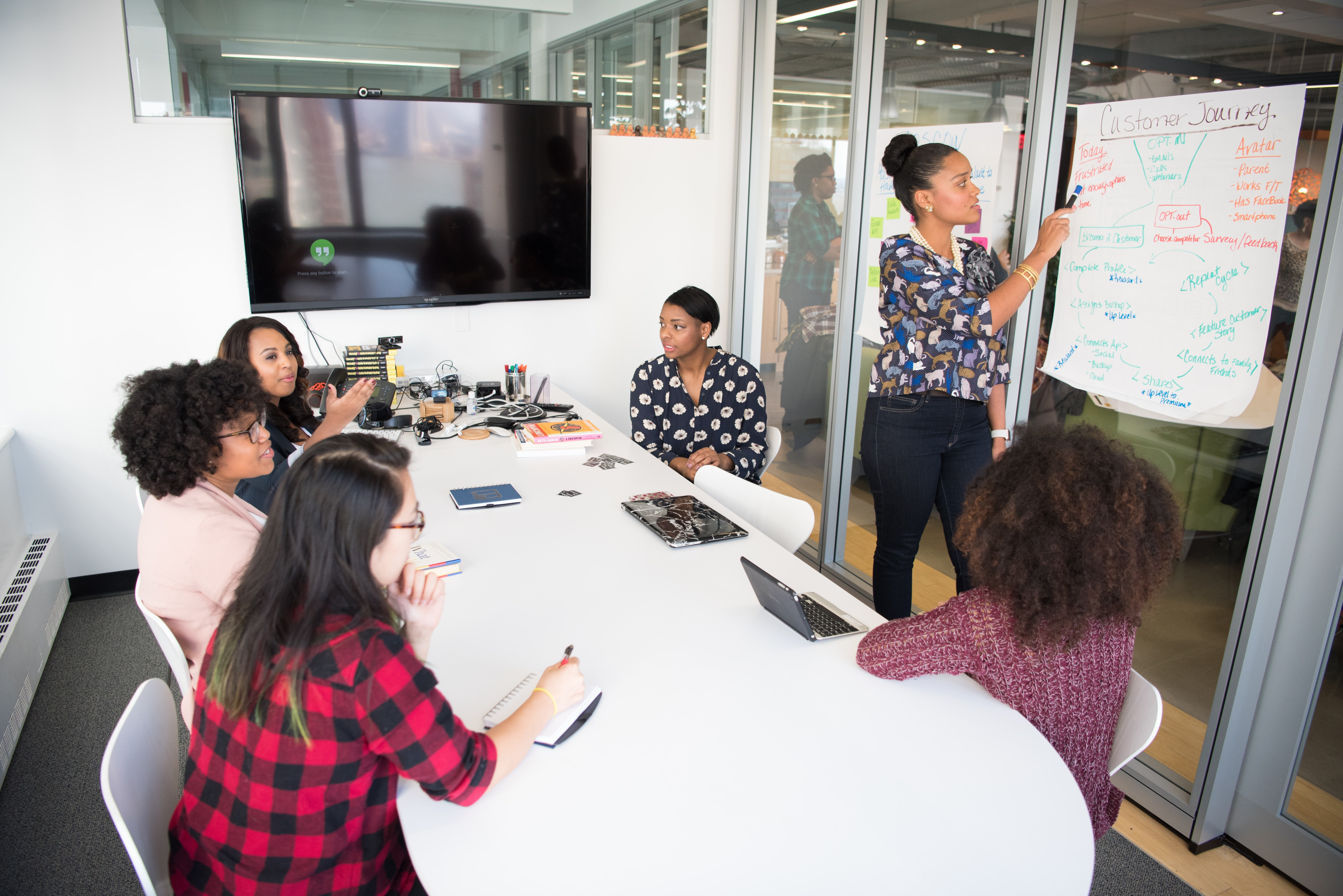 A marketing team of six women in a conference room review a customer journey to help market infographics.