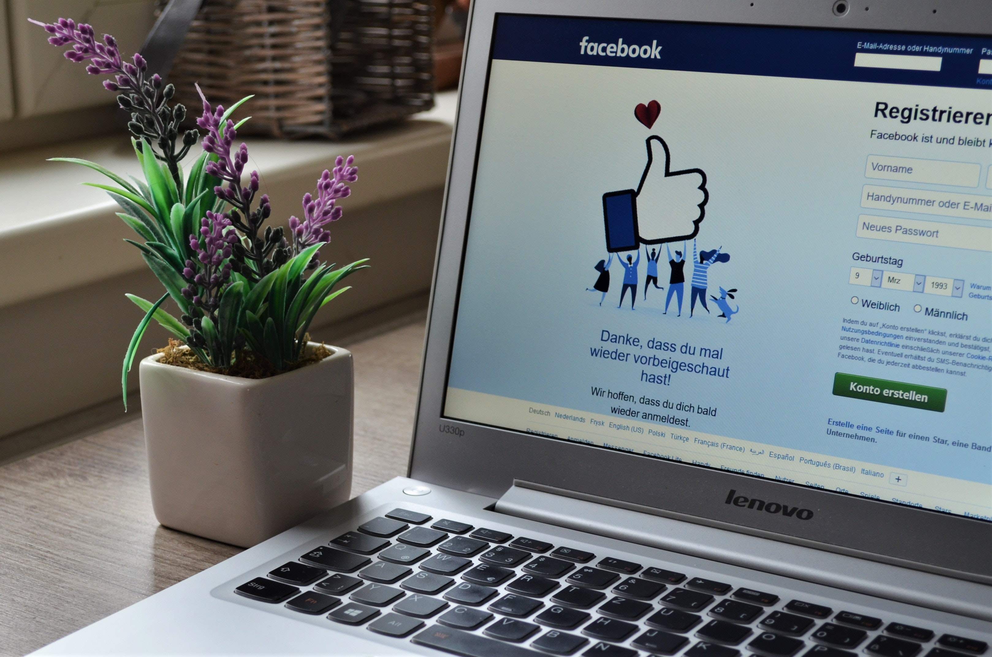 A Lenovo laptop with Facebook's login page open on a desk next to a plant.