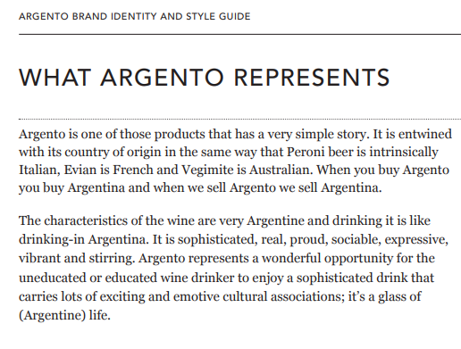 Brand style guide snippet from Argento