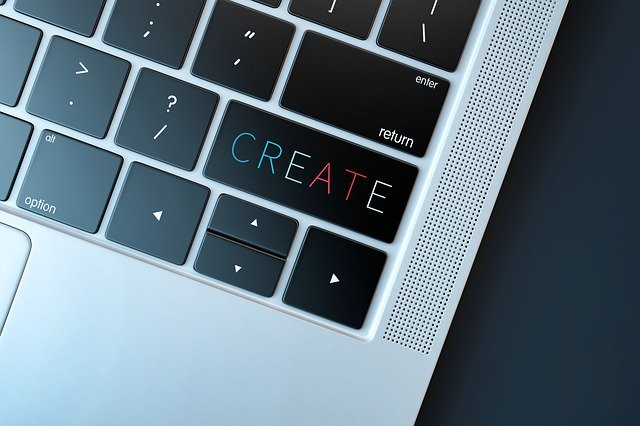 "A laptop with ""Create"" on the enter key."