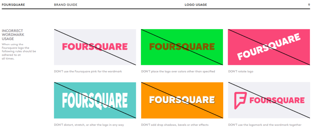 A brand style guide example on how not to use the logo