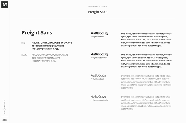 An example of typeface in a brand style guide