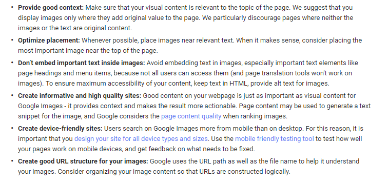 A snippet from Google about adding images to your content.