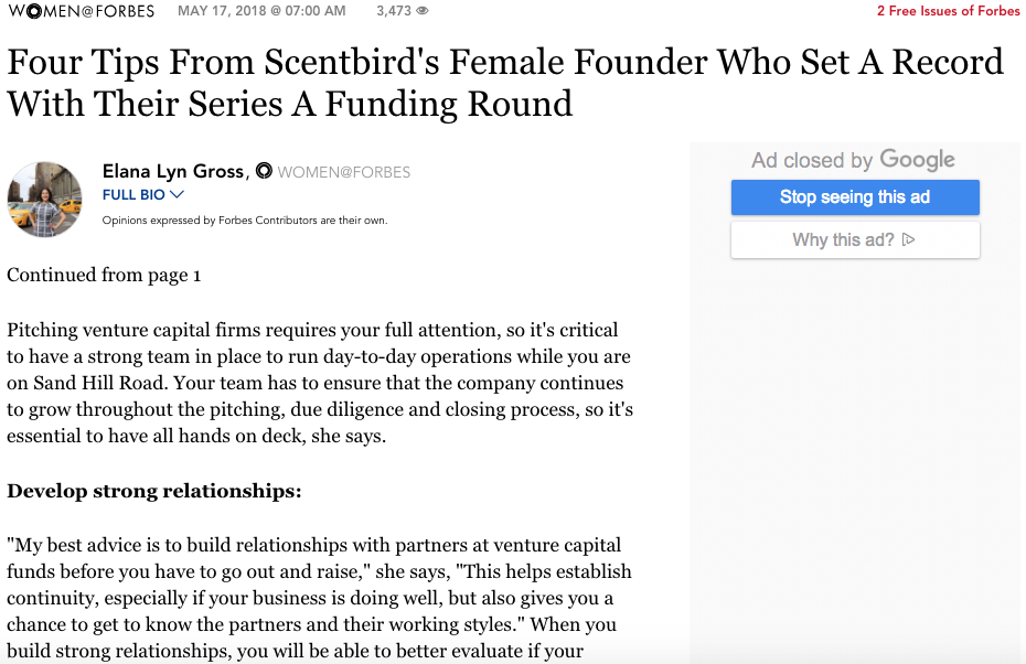 An article a summary image uses a quote from by Women@Forbes