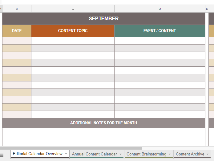 A content calendar created by Smart Sheets
