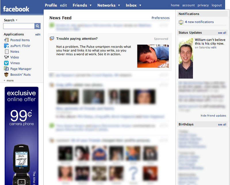 Screenshot of Facebook's Newsfeed
