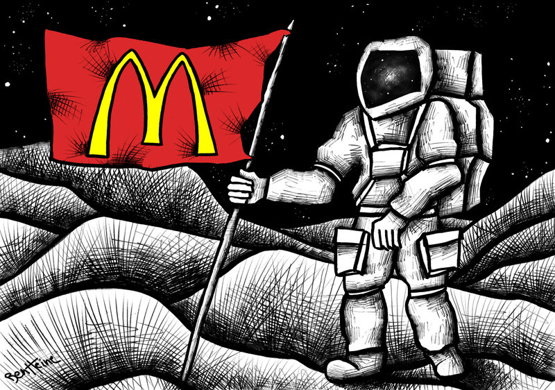 astronaut on the moon with a McDonalds Flag