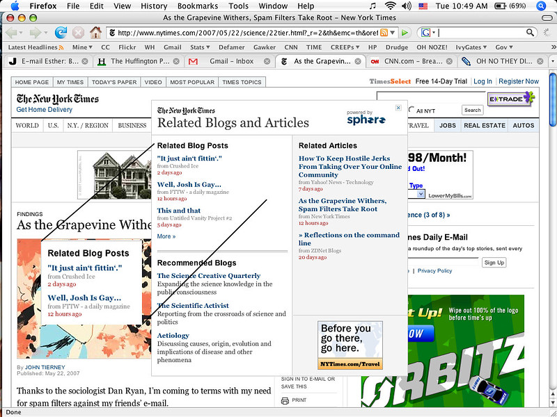 Screenshot of the New York Times site with native ads