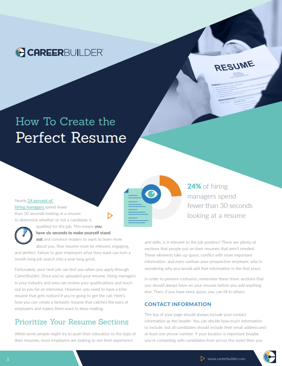 white paper example - How to Create the Perfect Resume