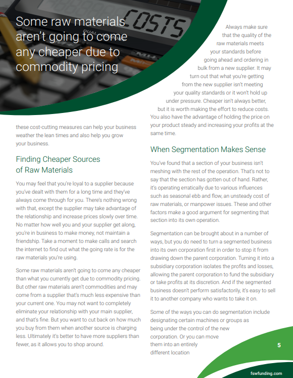 white paper subhead example - Finding Cheaper Sources of Raw Materials