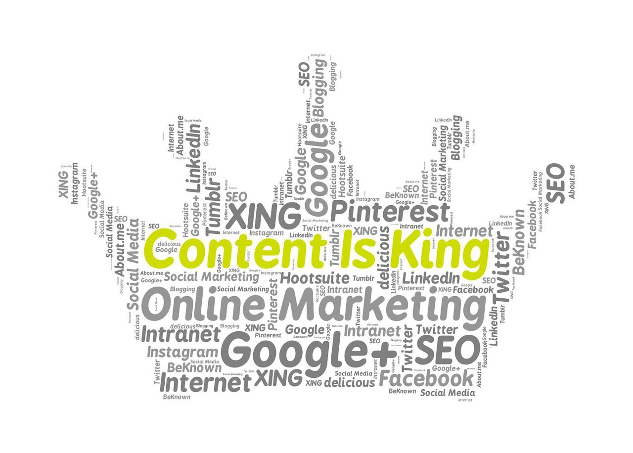 content is king graphic with popular marketing and content terms in the shape of a crown