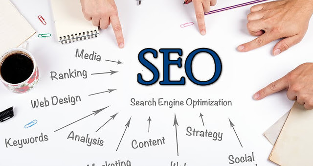 SEO graphic with all of the elements on it - ranking, web deisng, contnet etc.