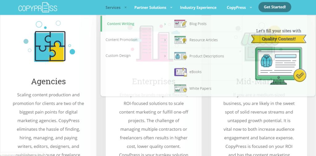 Screenshot of CopyPress website