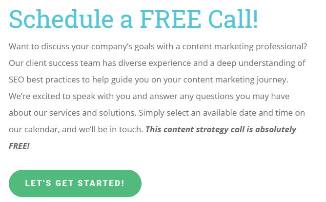 Schedule a FREE Call CopyPress Screenshot