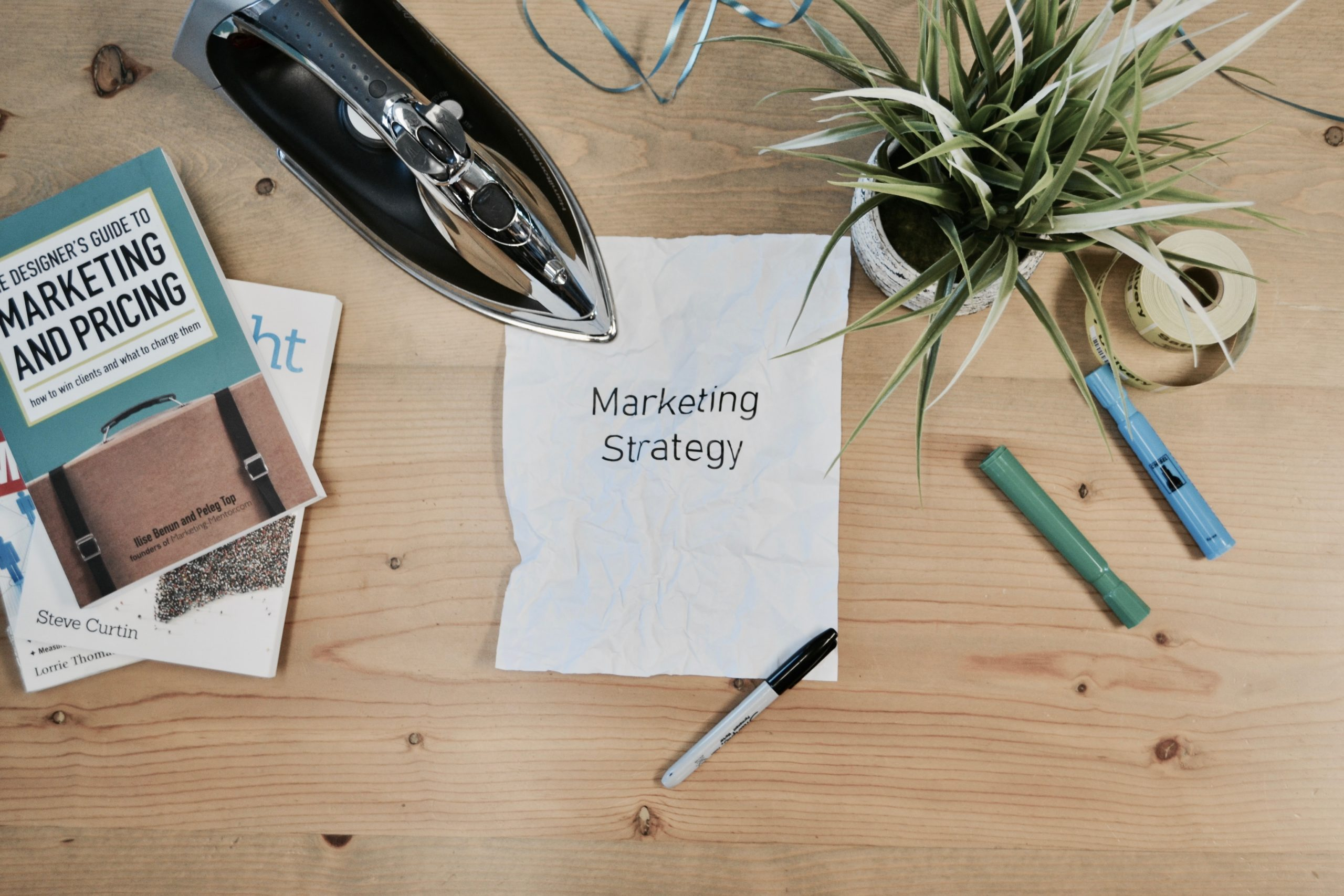 marketing strategy written on a piece of paper