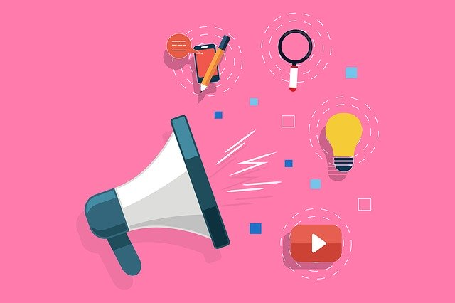 Pink backdrop with SEO related symbols on it including a microphone, light bulb, iPhone, Play button