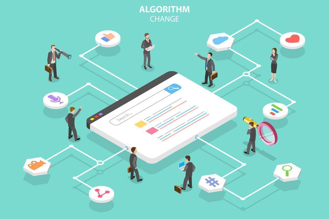 Algorithm change isometric flat vector conceptual illustration.