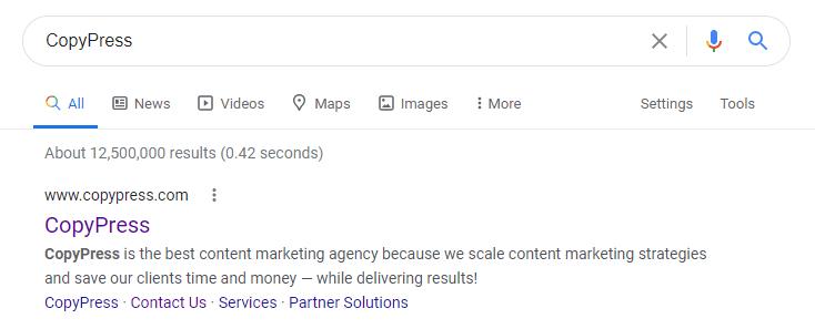 screenshot of Google Search of CopyPress