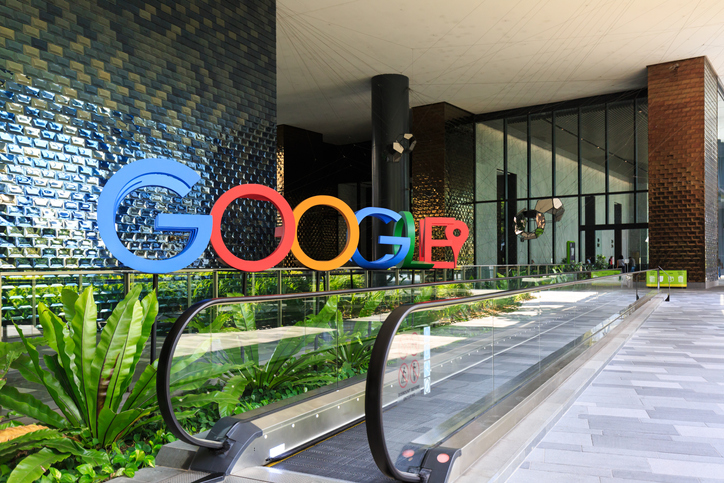 Singapore-28 DEC 2018:A photograph of the Google logo in the lobby of Google's new campus and office in Singapore, which is regional HQ.