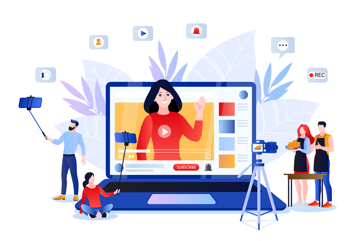 Vlog and video content creation for social networks. Vector illustration of lifestyle bloggers and influencers
