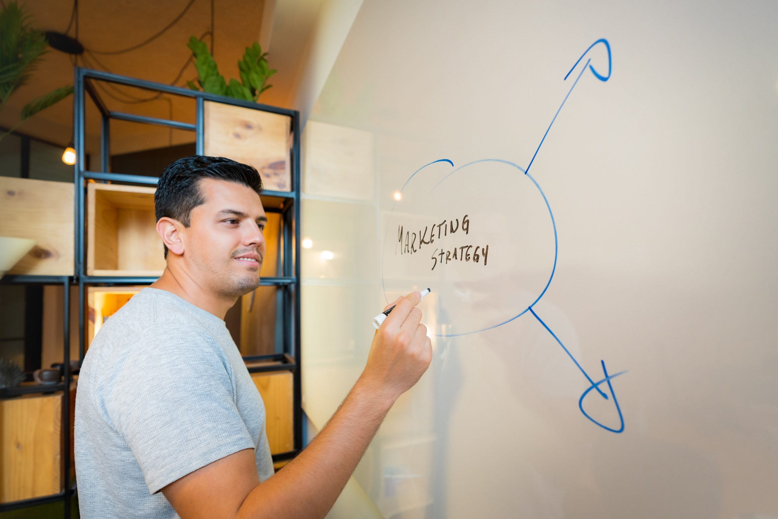 man planning a marketing strategy on a whiteboard
