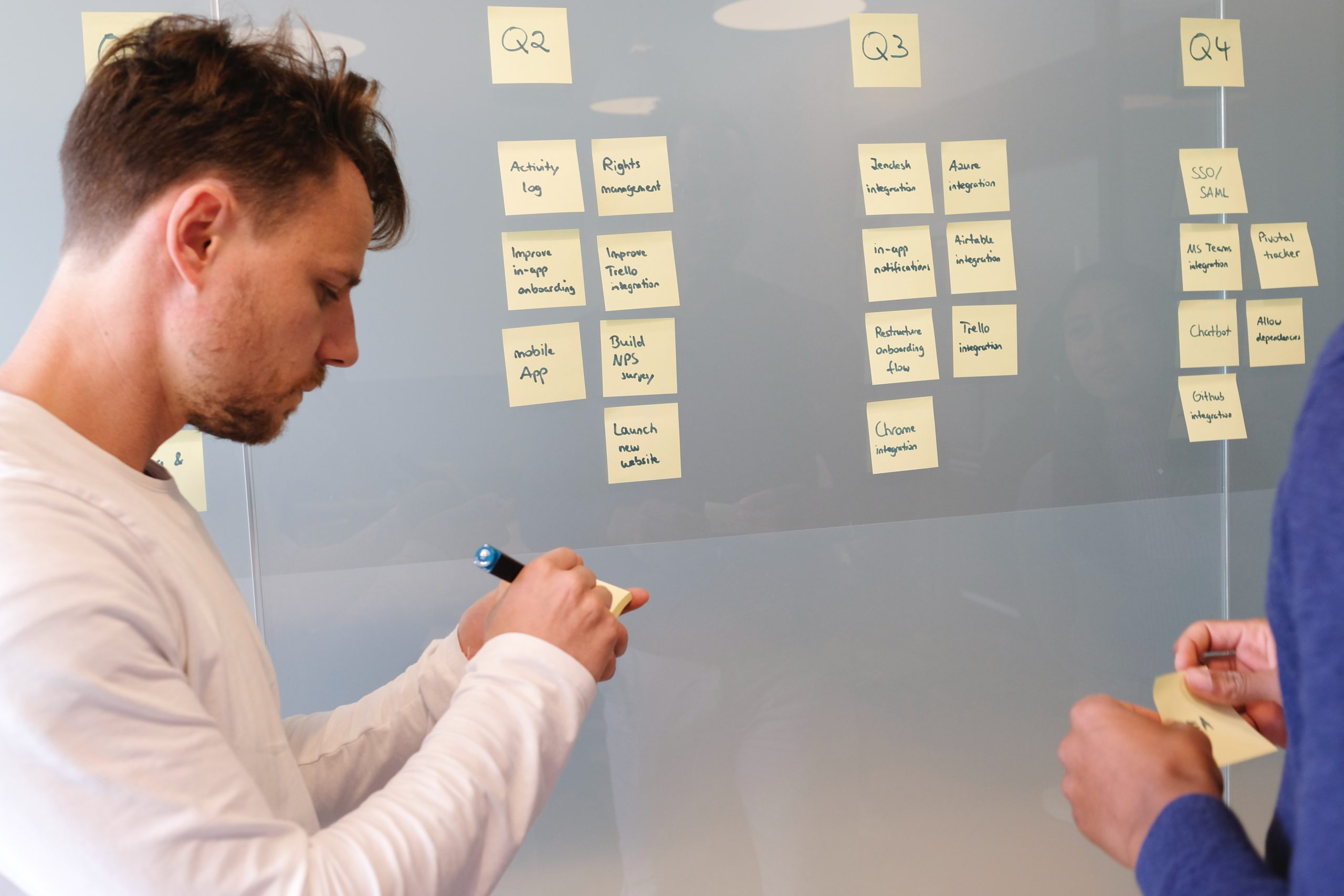 panning a marketing strategy on a whiteboard with stick notes by quarter