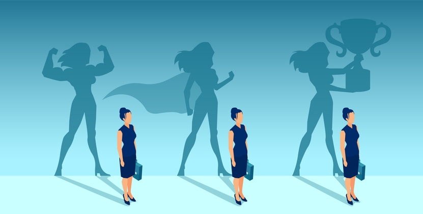 Vector of a businesswoman with strong winner super hero shadows of her self
