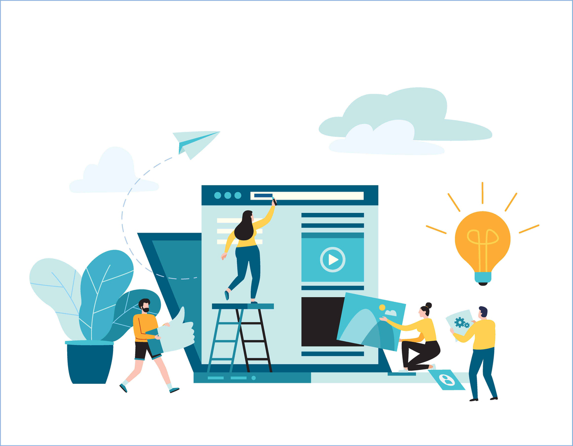 online news vector illustration. small people working decorated laptop. social networks. virtual communication. construction web site. concept. flat cartoon design for background banner