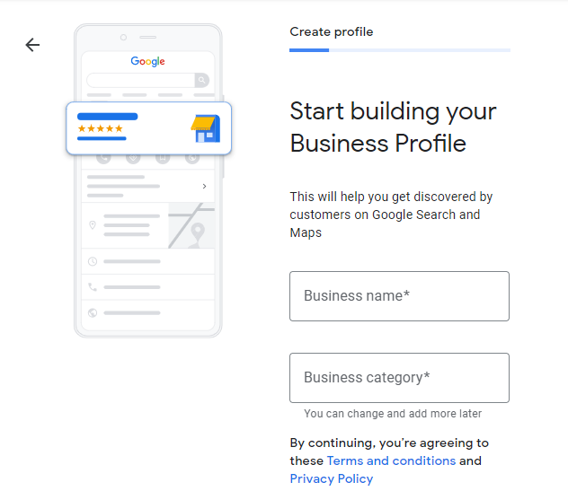Screenshot of Google Business Profile Creation Screen. Cartoon phone on left and business creation fields on right.