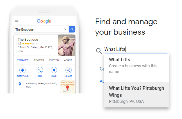 Google find your business screenshot with white cell phone and google listing on left and search bar on right