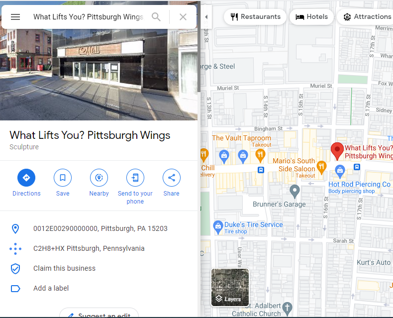 Screenshot of Google My Business search with map on right and business listing on left.