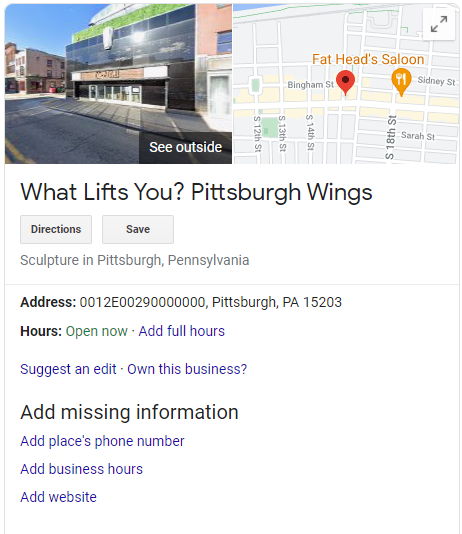 """Screenshot of Google image search result for """"What Lifts You? Pittsburgh Wings"""" with image and map at top and contact information below."""