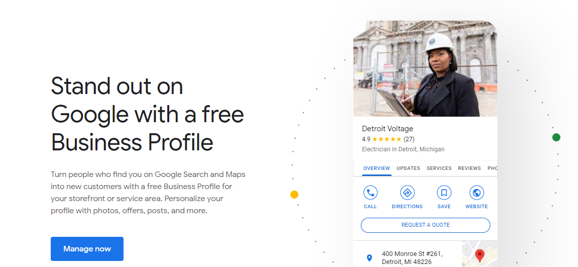 Screenshot of Google My Business introduction screen with text on left, business profile example on right and a blue button at the bottom.
