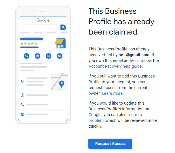 Screenshot of a Google My Business listing that's already claimed. Cartoon phone on the left and explanatory text on right.
