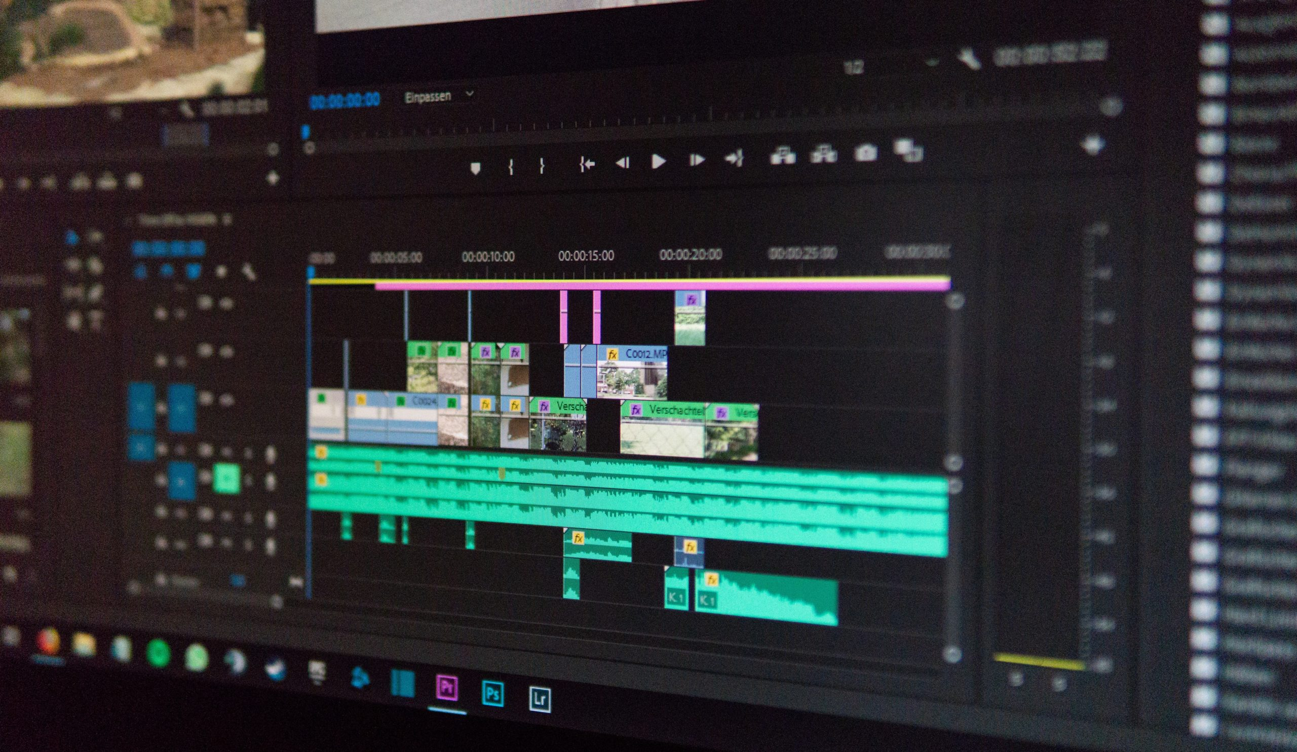 Video timeline on editing software