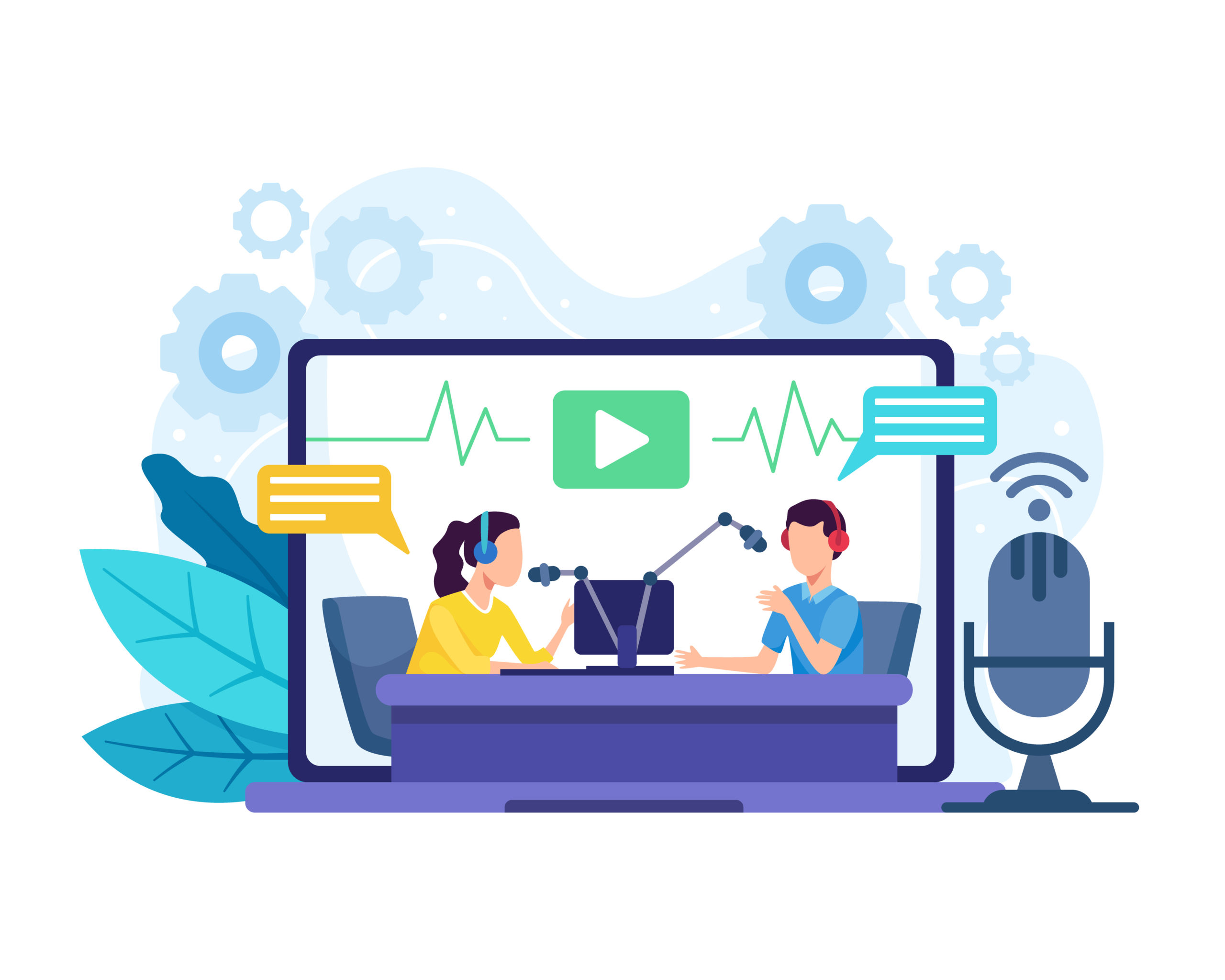Female radio host interviewing guests on radio station. Podcast in studio flat vector illustration. Man and women in the laptop wearing headphones talking