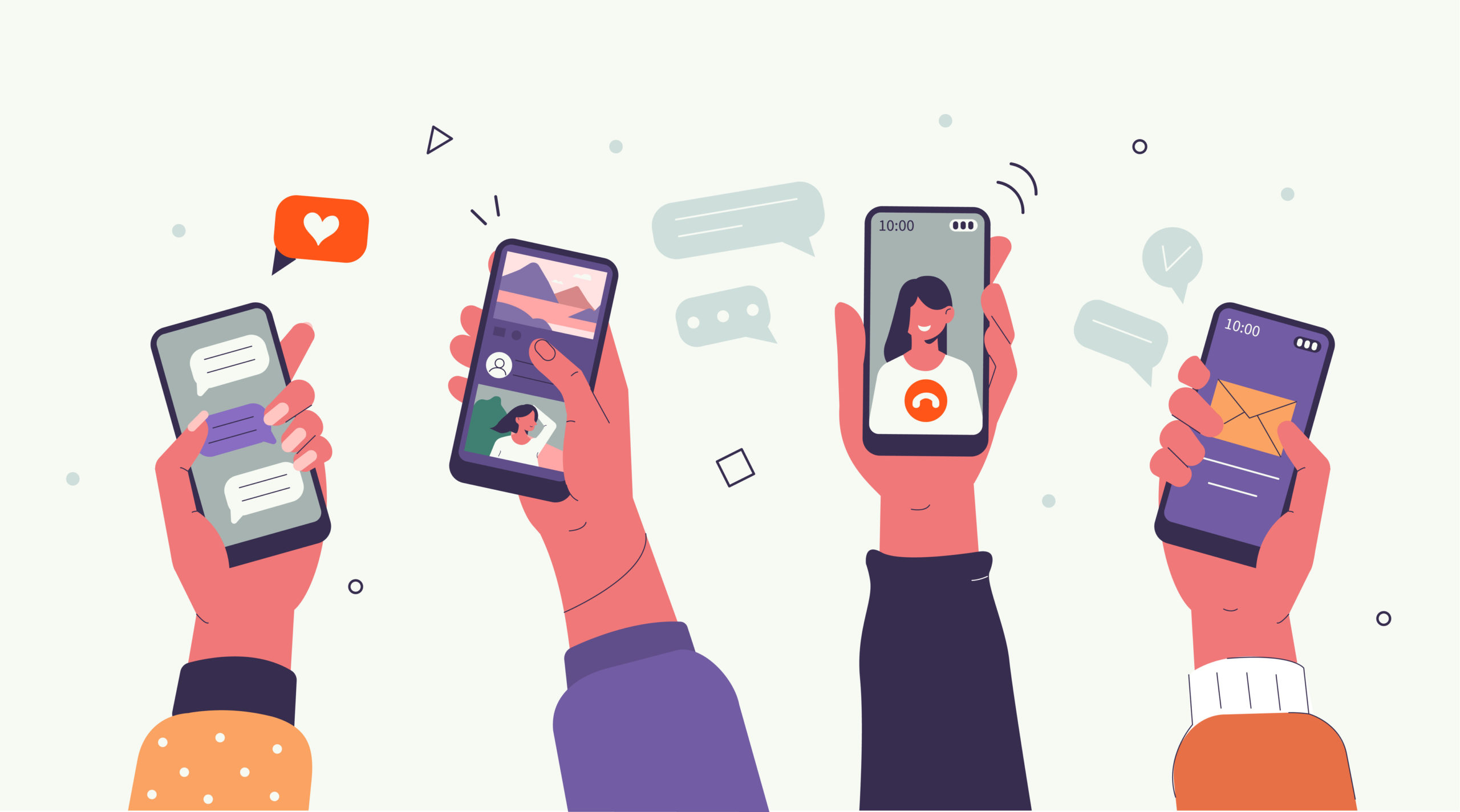four cartoon hands and forearms holding up phones using social media and apps