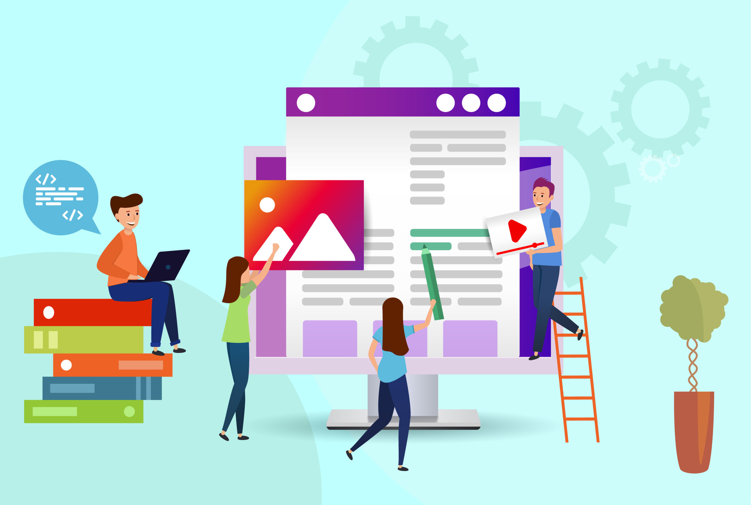 Team of people creates a website. Programmers, designers, video editors, copywriters. Illustration design Landing page. Young men and women on ultraviolet background.