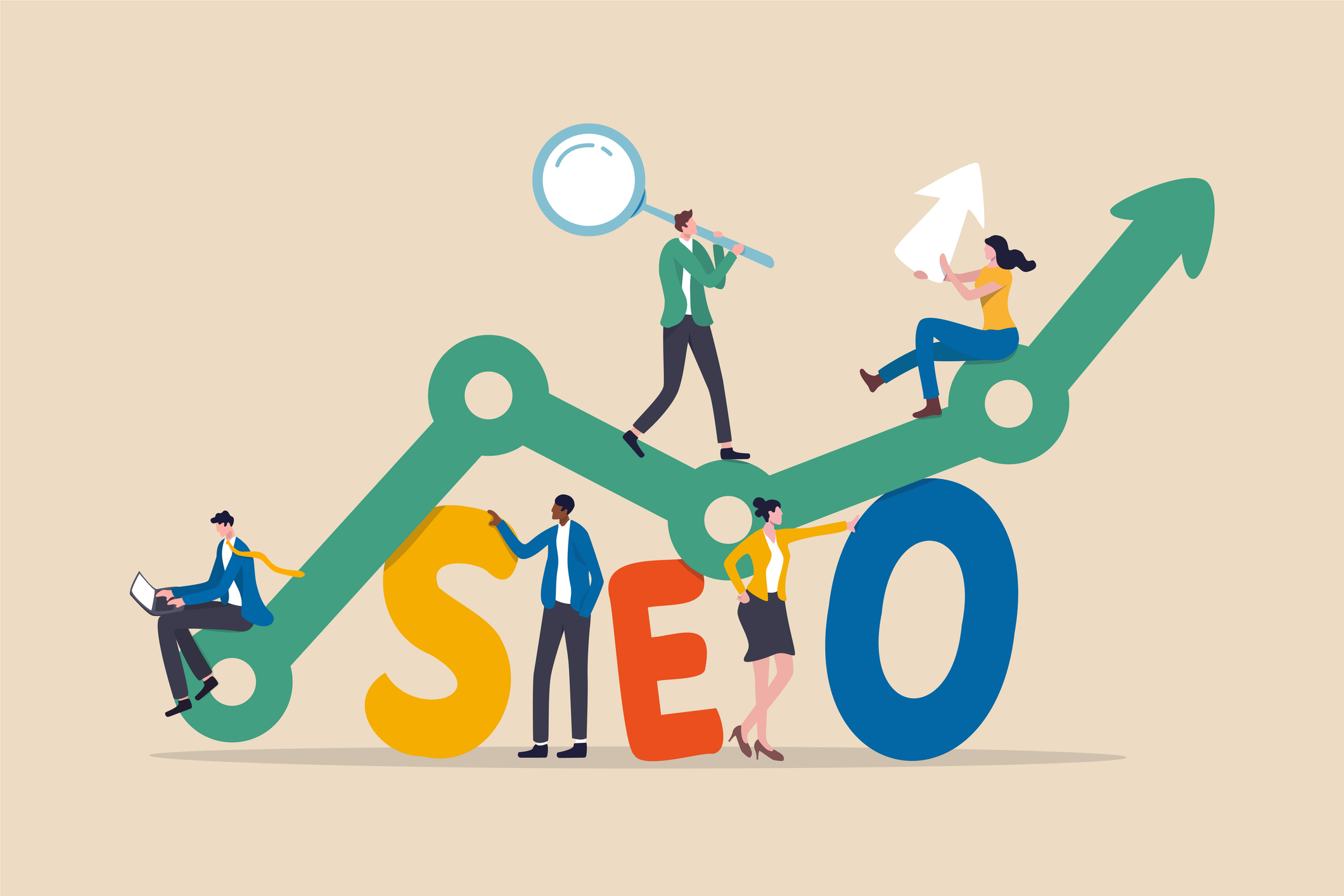 """Text reads """"SEO"""" with people standing on an upward arrow."""