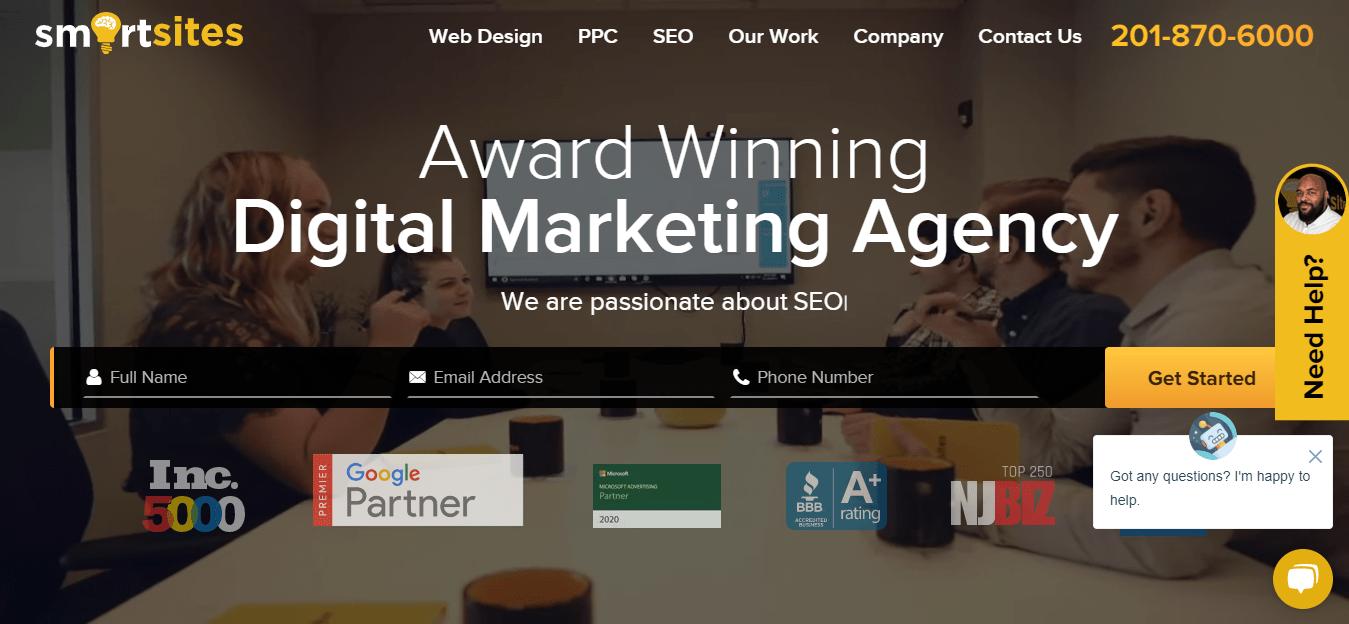 Screenshot of Smartsite's homepage.