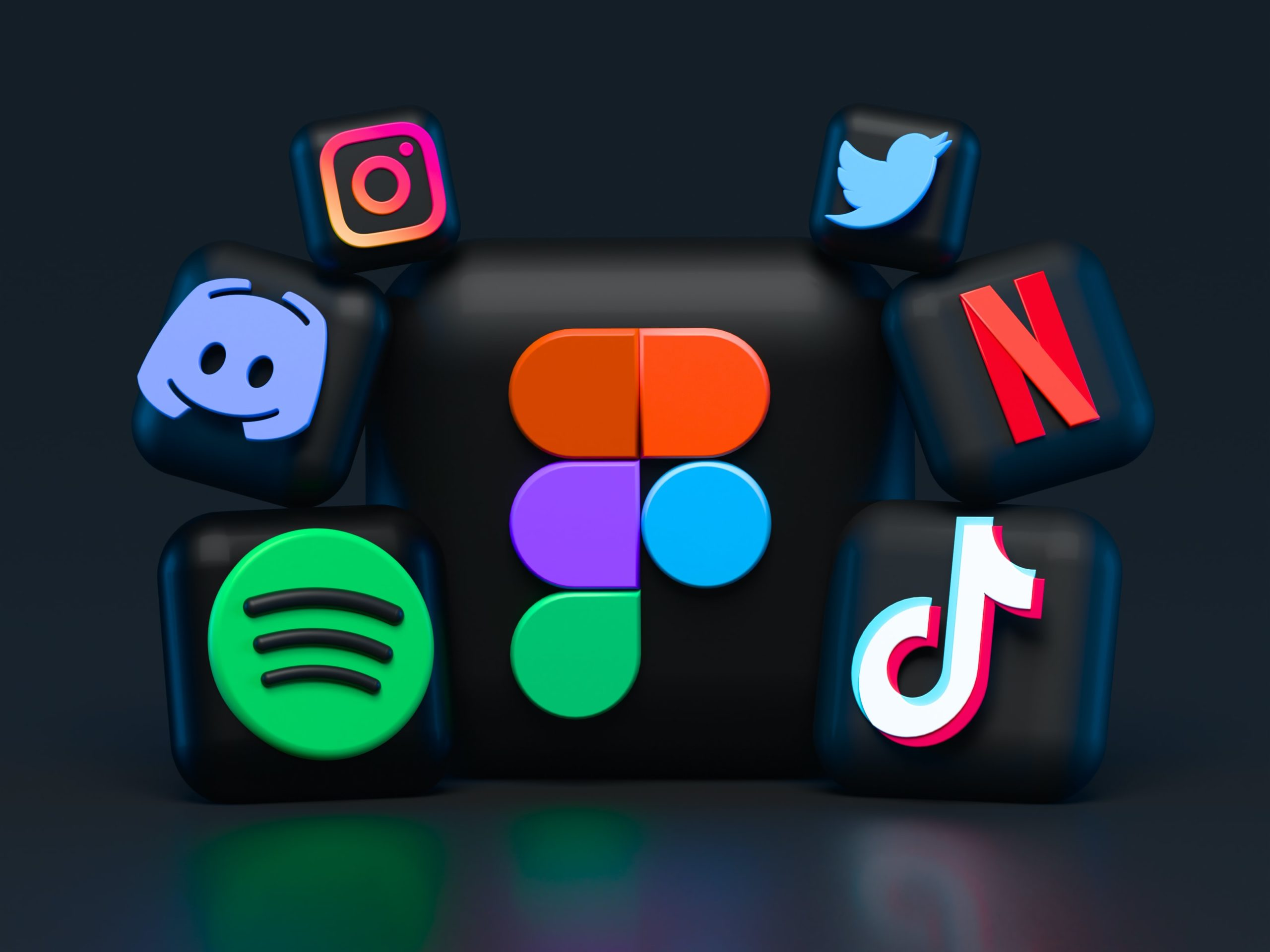 3D social media icons on a black background