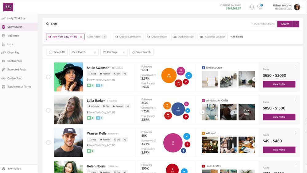 Screenshot from IZEA an influencer marketing platform