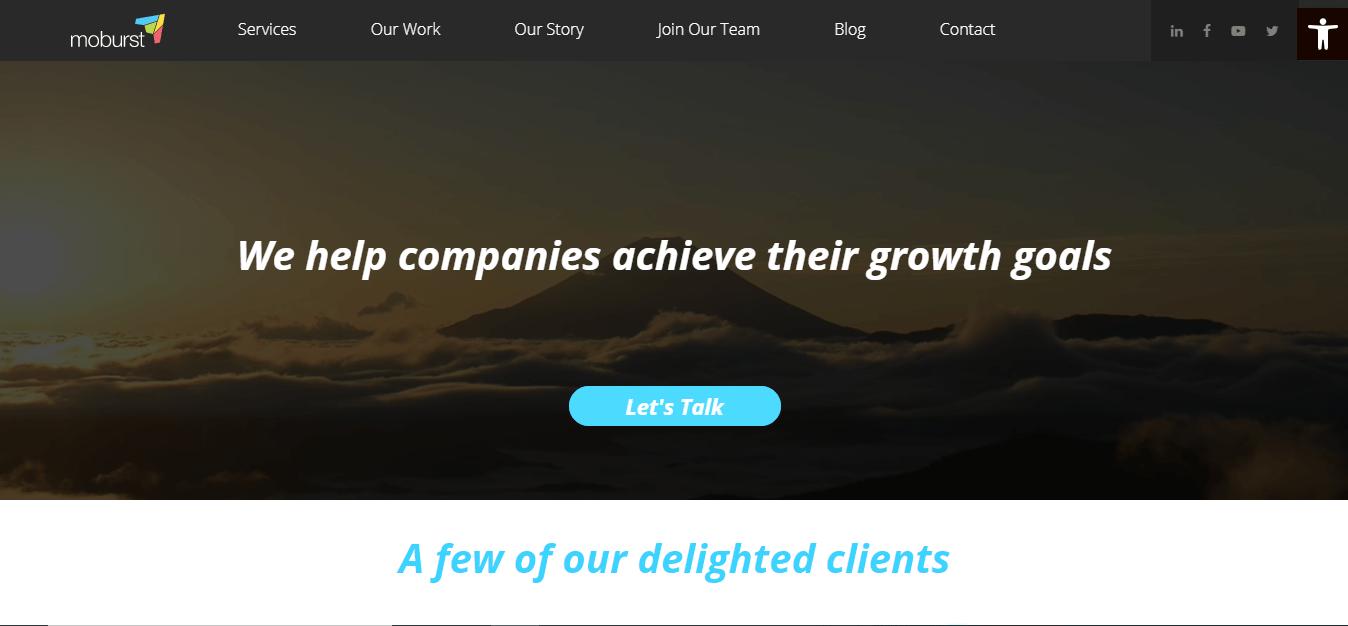 Screenshot of Moburst's homepage.