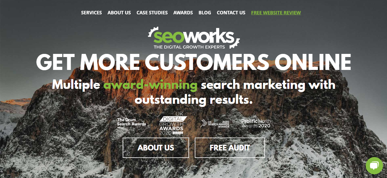 Homepage of the advertising agency, SEOWorks.