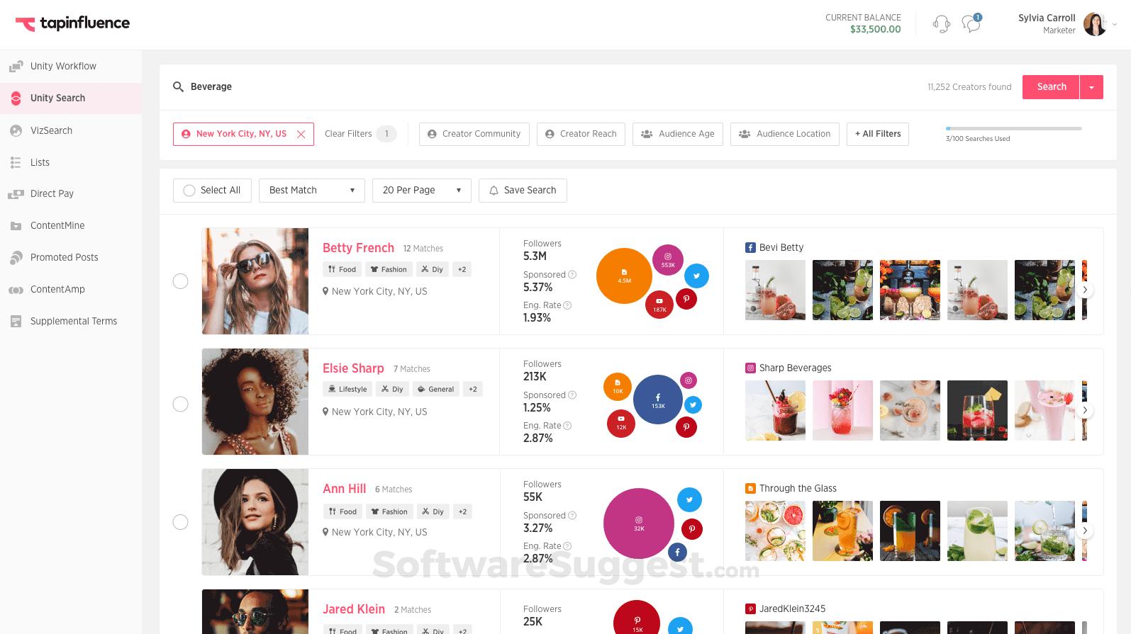 Screenshot of Tapinfluence user interface