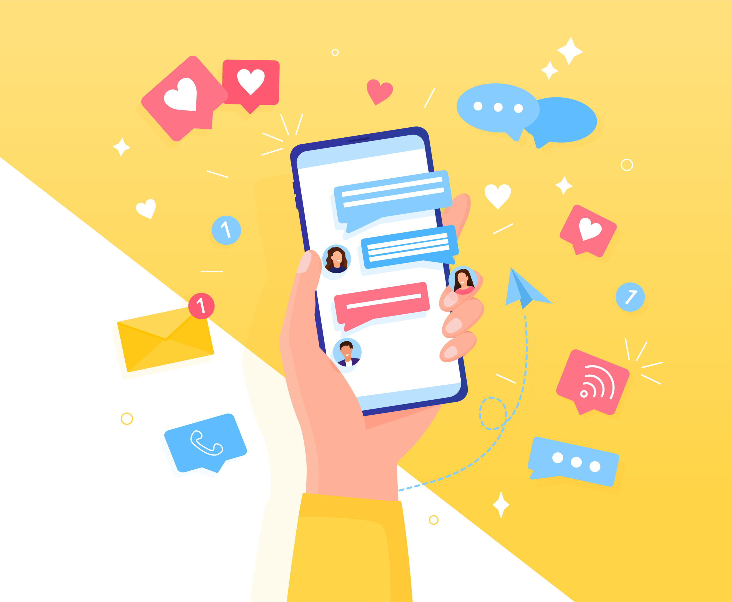 Hand holding phone with short messages, icons and emoticons. Chatting with friends and sending new messages. Colorful speech bubbles boxes on smartphone